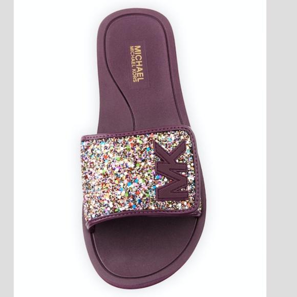 19563011bd5b Michael Kors Chunky Glitter MK Flat Slide Sandal. M 5b944cc47386bccc5f9b9e64